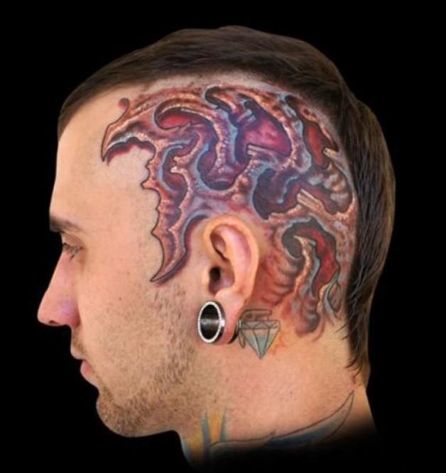 Unique Scalp Head Tattoos Designs