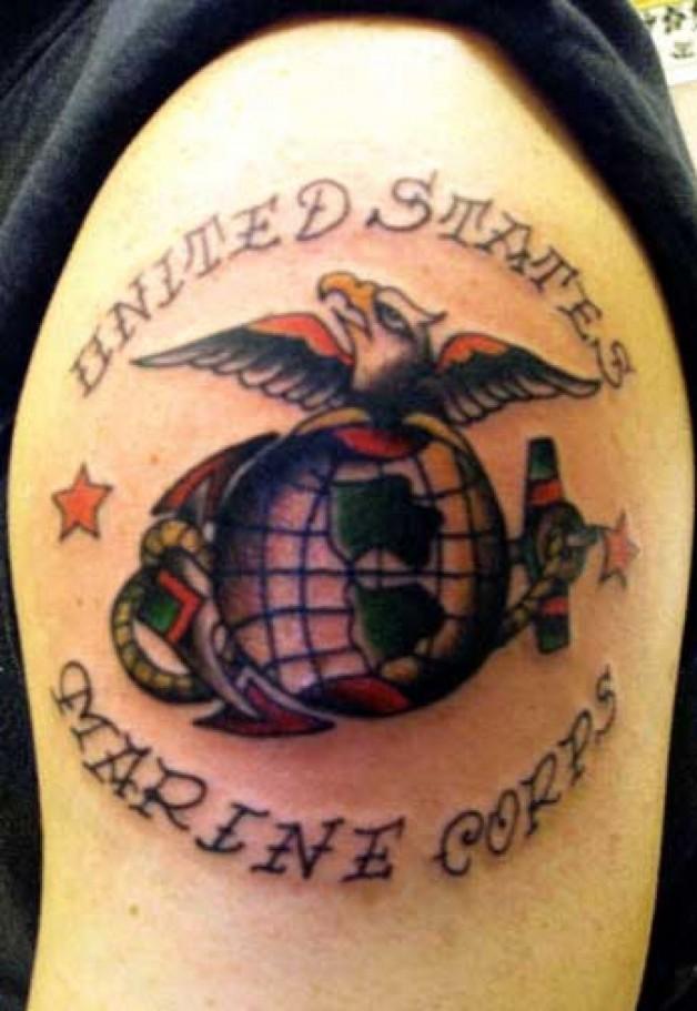 United States Marine Corps Tattoo Design In War