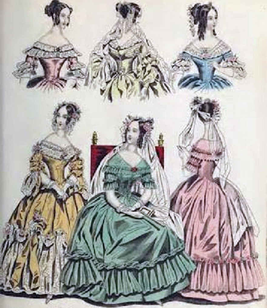 Victorian Era Evening Dress Sketches - Inofashionstyle.com