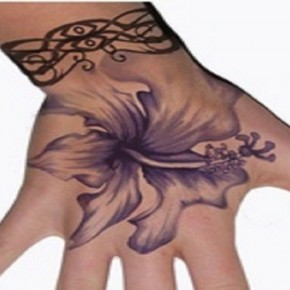 Violet Hibiscus Tattoo Design For Hands Pictures