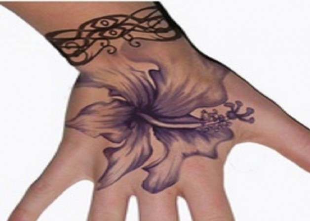 Violet Hibiscus Tattoo Design For Hands
