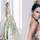 White And Gold Wedding Dresses 2013 Pictures