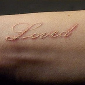 White Ink Love Word Fake Tattoo Ideas Pictures