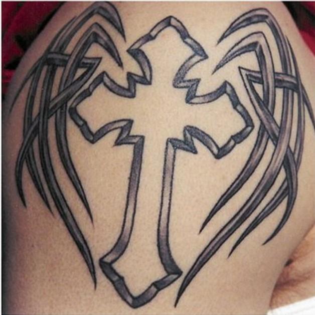 Wing Tribal Cross Tattoos Design