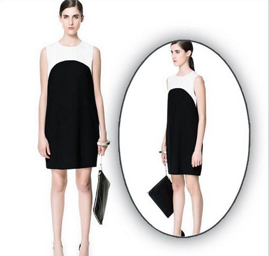 Women Straight Dress Black And White