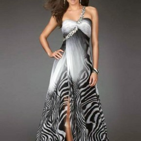 Zebra Feather Prom Dress High Low Pictures