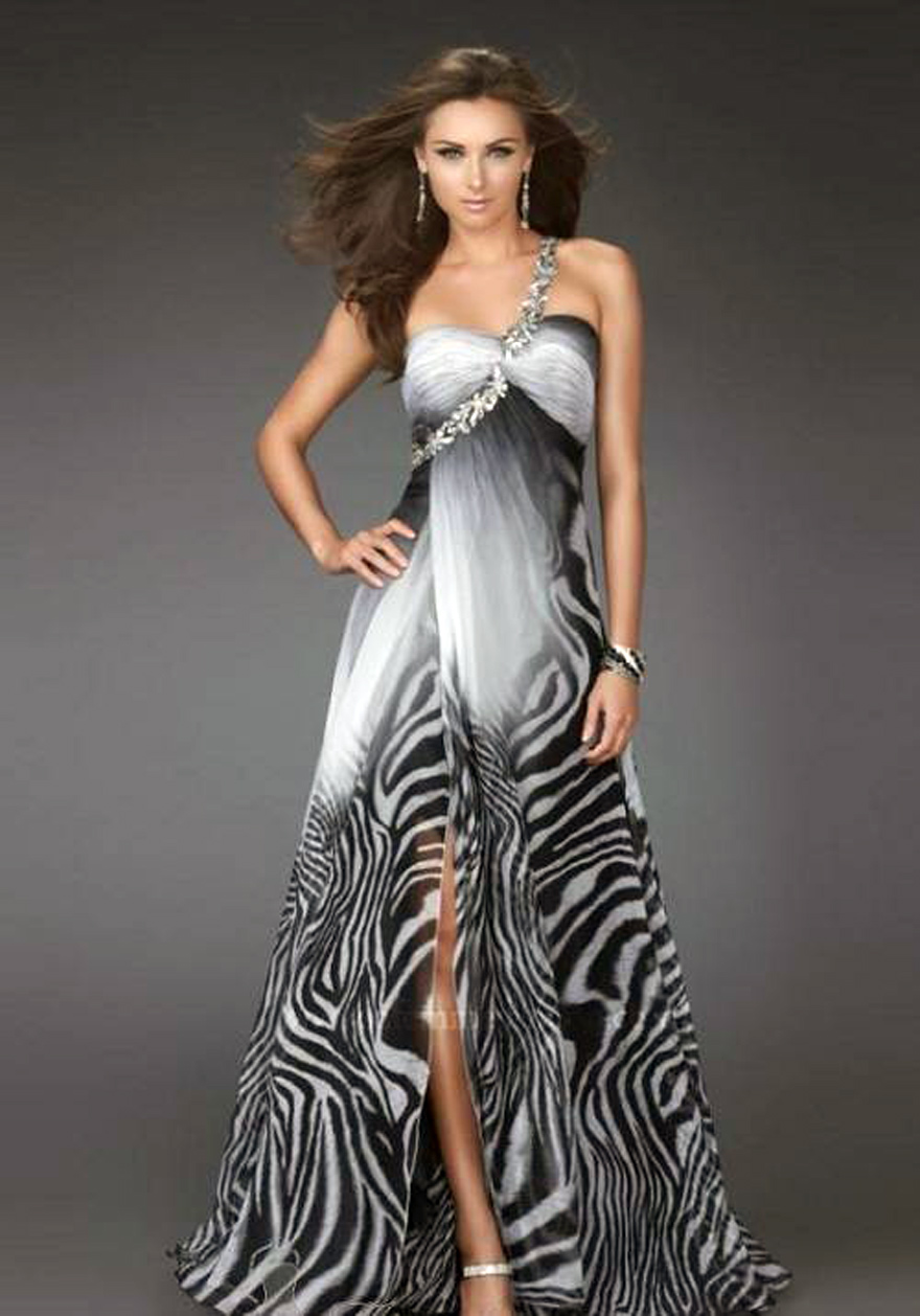 Zebra Feather Prom Dress High Low - Inofashionstyle.com