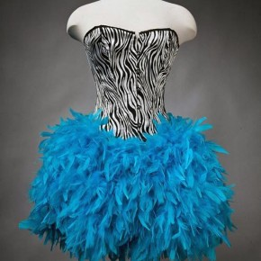 Zebra Feather Prom Dress Short Pictures