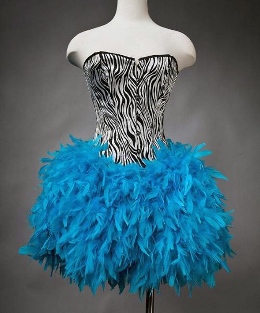 Zebra Feather Prom Dress Short - Inofashionstyle.com